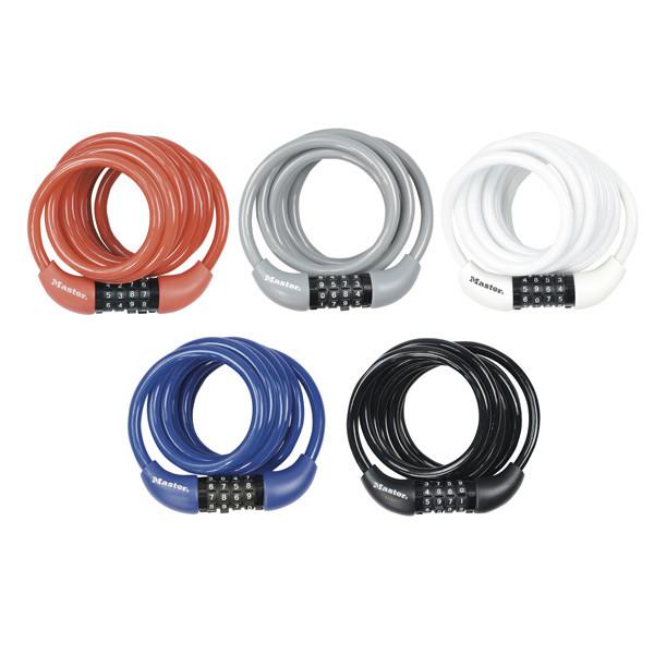 Antifurt Master Lock cablu spiralat cu cifru 1.8m x 8mm - diverse culori imagine