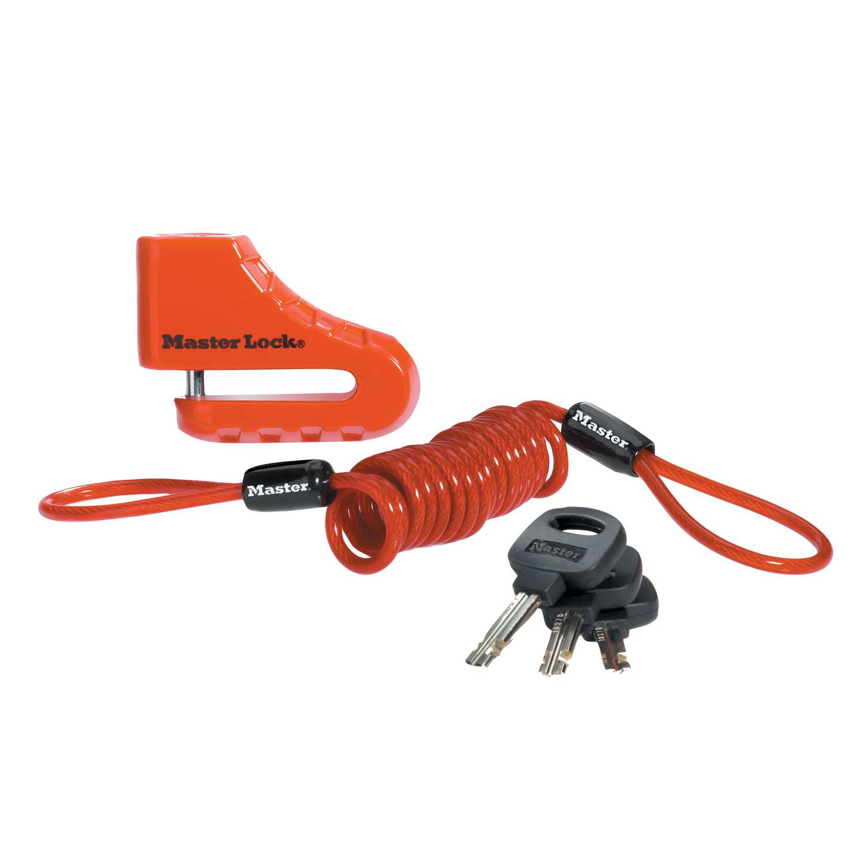 Antifurt frana disc 80mm pentru motocicleta/scuter/moped Master Lock inchidere cu cheie si cablu spiralat de atentionare Rosu imagine