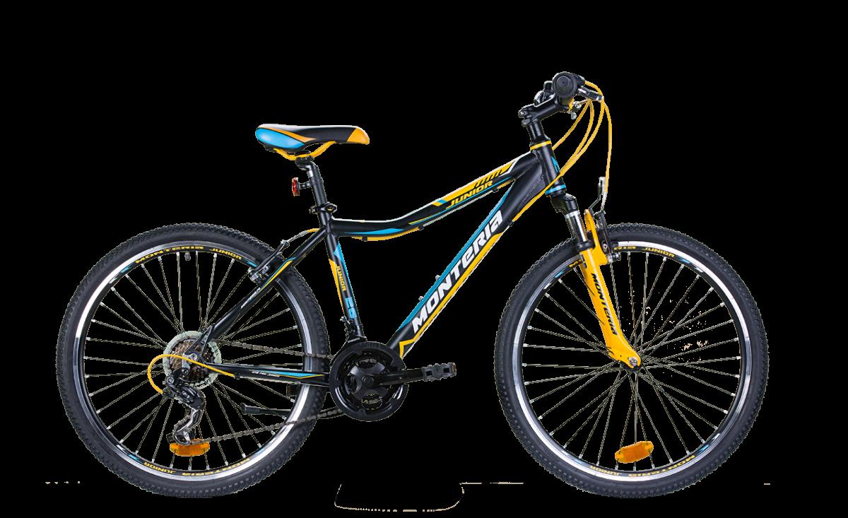 Bicicleta pentru copii Romet Monteria JUNIOR 26 Negru/Galben/Albastru imagine