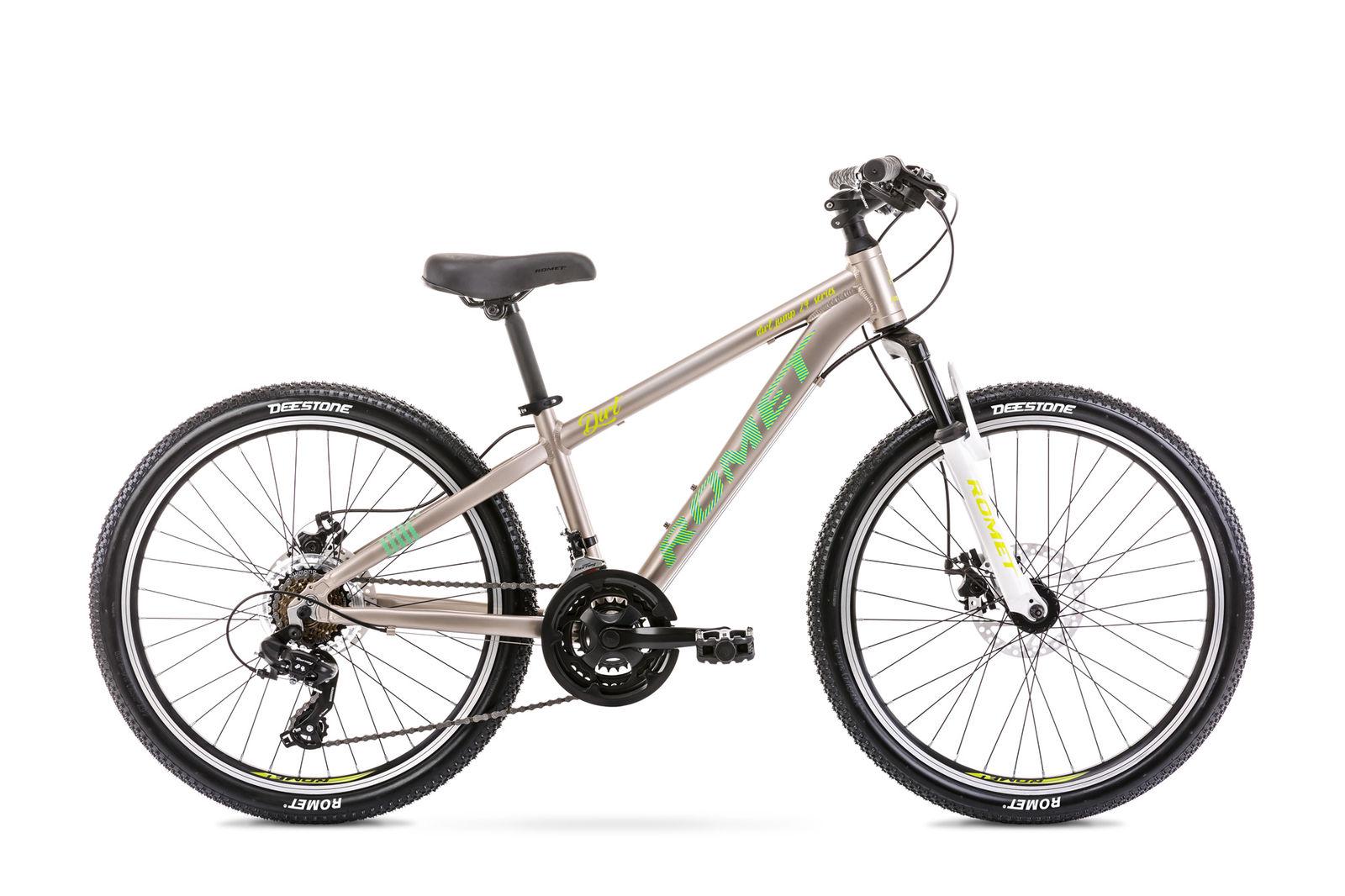 Bicicleta pentru copii Romet Rambler Dirt 24 S/12 Gri/Verde 2021 Romet