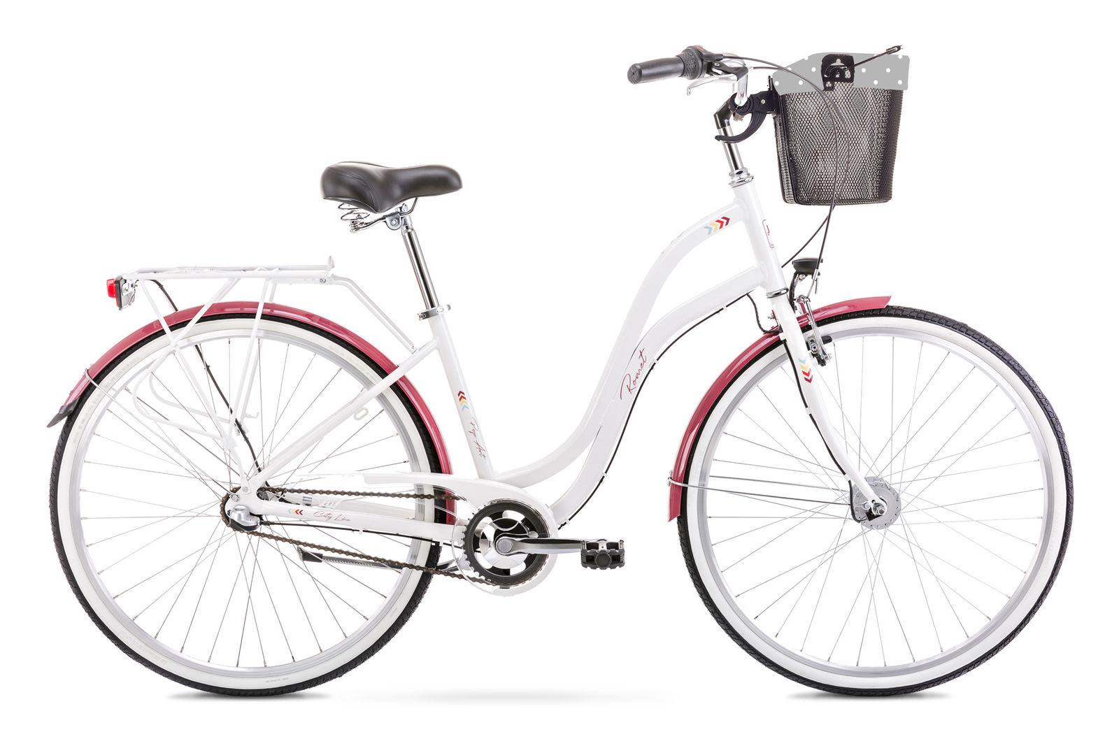 Bicicleta de oras pentru femei Romet Pop Art 28 Alb/Bordo 2021 Romet