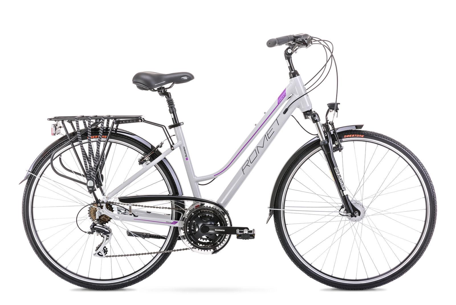 Bicicleta de trekking pentru femei Romet Gazela 3 Gri/Violet 2021 imagine