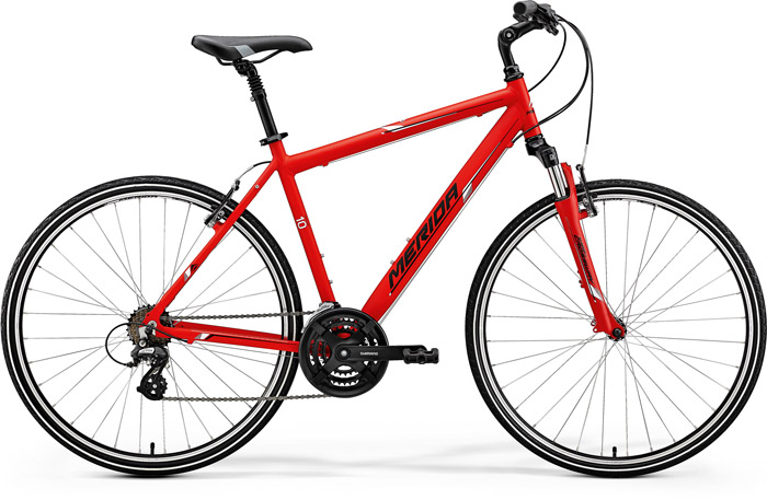 Bicicleta de trekking pentru barbati Merida Crossway 10-V Rosu(Negru/Alb) 2018 imagine