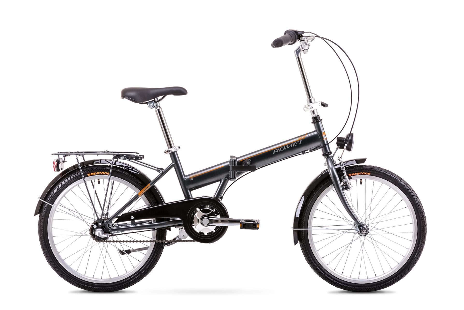 Bicicleta pliabila Unisex Romet Wigry 2 Grafit/Portocaliu 2019 imagine