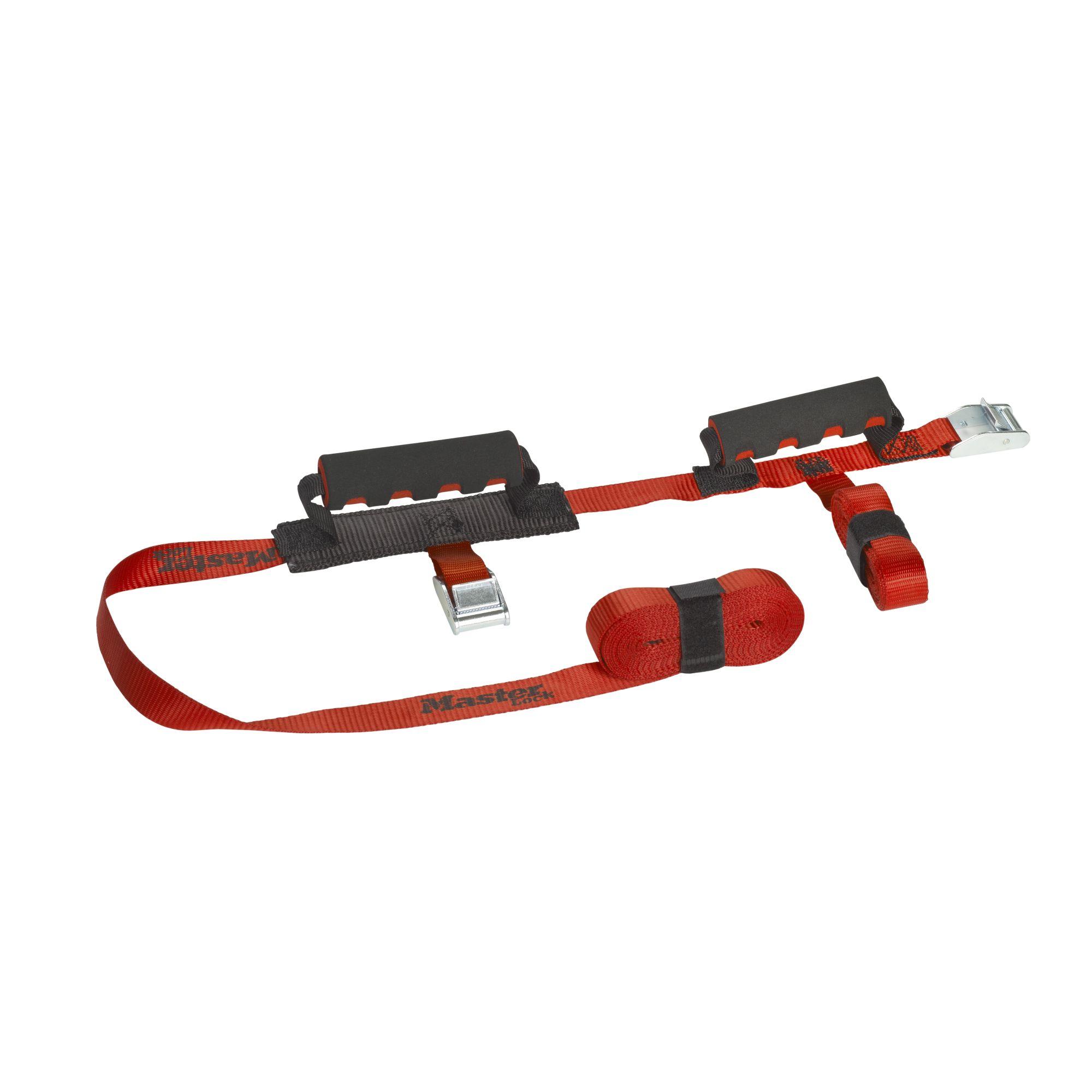 Curele incrucisate cu 2x manere transport MasterLock 2.50m x 25mm + 5.50m x 25mm Rosu imagine