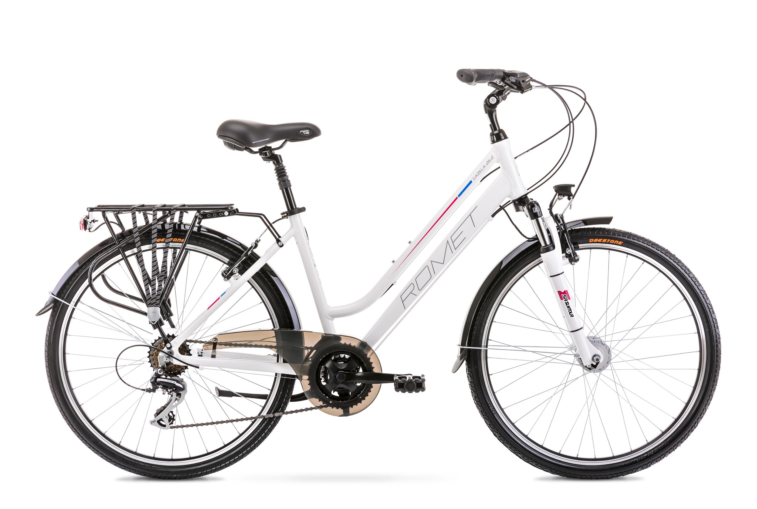 Bicicleta de trekking/oras pentru femei Romet Gazela 26 2 Alb/Roz 2020 Romet