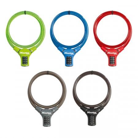 Antifurt Master Lock cablu impletit cu cifru 900 x 12mm - diverse culori