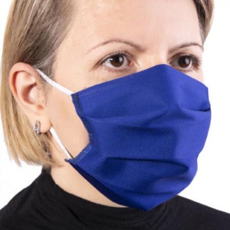 Masca de protectie reutilizabila dublu strat cu pliuri Bleumarin
