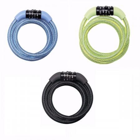 Antifurt Master Lock cablu spiralat cu cifru 1.20m x 8mm - diverse culori