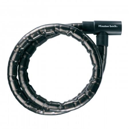 Antifurt MasterLock cablu otel armat cu cheie 1.2 m x 22mm Negru