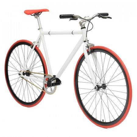 Bicicleta Fixie flip-flop hub Deoras Alb/rosu