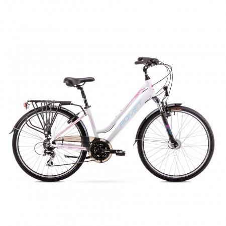 Bicicleta de trekking/oras pentru Femei Romet Gazela 26 2 Alb/Roz 2019