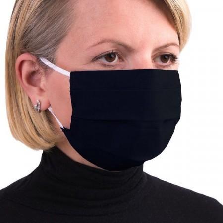Masca de protectie reutilizabila dublu strat cu pliuri Negru