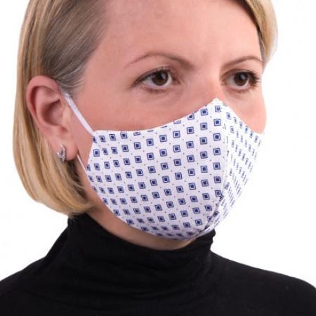 Masca de protectie reutilizabila dublu strat fara pliuri Romburi gri