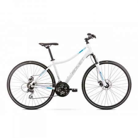 Bicicleta de trekking pentru femei Romet Orkan 1 D Alb/Albastru 2020 cu routing intern