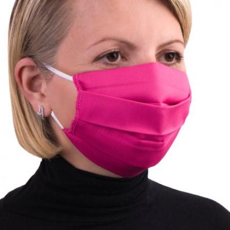 Masca de protectie reutilizabila dublu strat cu pliuri Roz