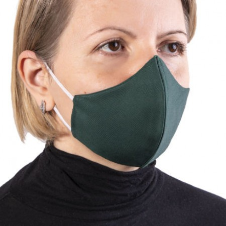 Masca de protectie reutilizabila dublu strat fara pliuri Verde inchis