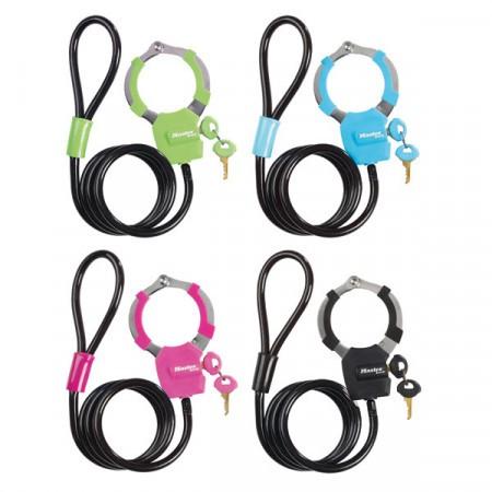 Antifurt Master Lock cablu cu catuse  1m x 8mm - diverse culori