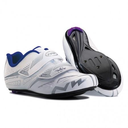 Pantofi ciclism sosea pentru femei Northwave Eclipse Evo marimea 37 Alb/Gri