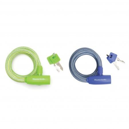 Antifurt Master Lock cablu spiralat cu cheie 1.80m x 8 mm - diverse culori