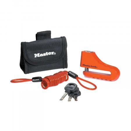 Antifurt frana disc 104mm pentru motocicleta/scuter/moped Master Lock inchidere cu cheie si cablu spiralat de atentionare Rosu