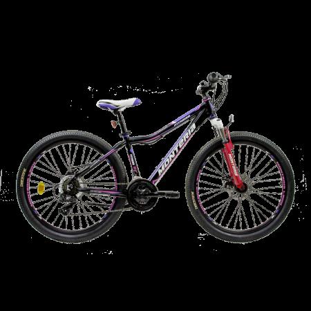 Bicicleta pentru copii Romet Monteria FITNESS 26 Disc Negru/Roz/Verde
