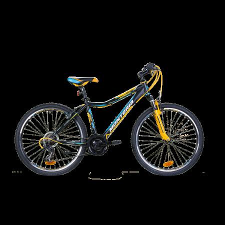 Bicicleta pentru copii Romet Monteria JUNIOR 26 Negru/Galben/Albastru