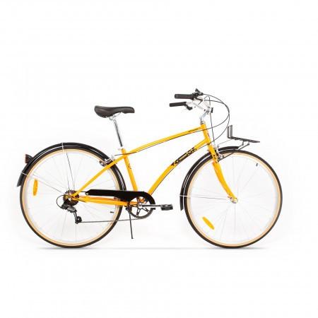 Bicicleta de oras pentru femei Pegas Popular 7 viteze Aluminiu Portocaliu Neon