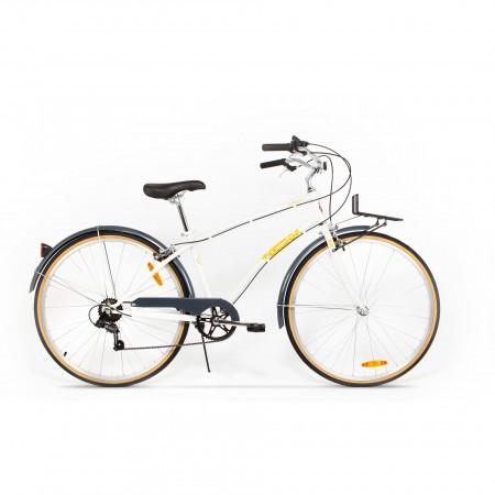 Bicicleta de oras pentru femei Pegas Popular 7 viteze Otel Alb Perlat