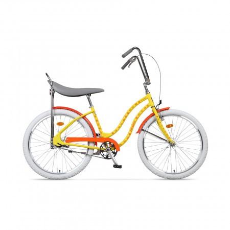 Bicicleta de oras pentru femei Pegas Strada 2 2S Galben Flori