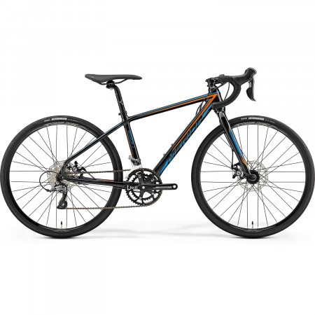 Bicicleta de sosea pentru copii Merida Mission J Road Negru(Albastru/Portocaliu) 39cm 2019