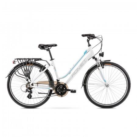 Bicicleta de trekking pentru femei Romet Gazela 26 1 Alb/Albastru 2021