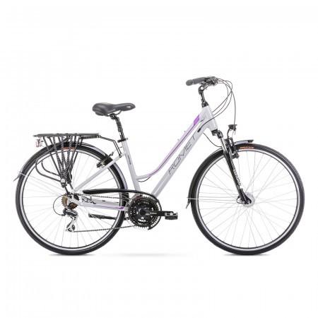 Bicicleta de trekking pentru femei Romet Gazela 3 Gri/Violet 2021
