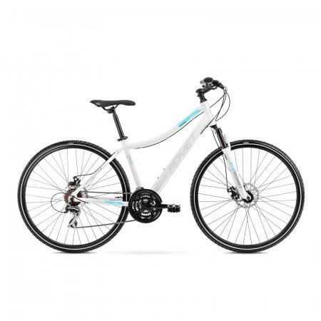 Bicicleta de trekking pentru femei Romet Orkan 1 D Alb/Albastru 2021
