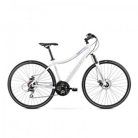 Bicicleta de trekking pentru femei Romet Orkan 1 D Alb/Violet 2021