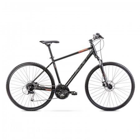 Bicicleta de trekking pentru barbati Romet Orkan 3 M Negru/Portocaliu 2021