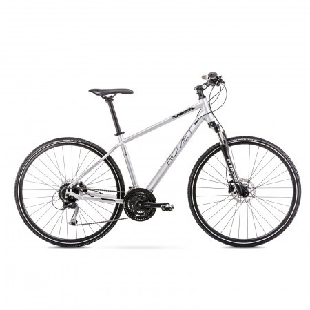 Bicicleta de trekking pentru barbati Romet Orkan 5 M Argintiu/Negru 2021
