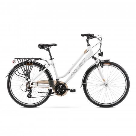 Bicicleta de trekking pentru femei Romet Gazela 26 1 Alb/Auriu 2022