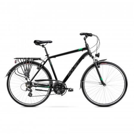 Bicicleta de trekking pentru barbati Romet Wagant 1 Negru/Verde 2022