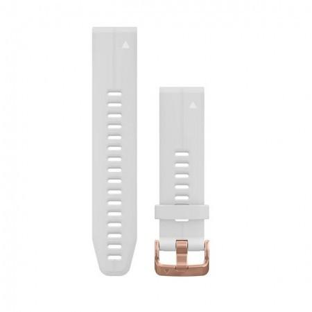 Curea Garmin Quickfit 20 silicon carrara white, rose gold Fenix 5S/6S