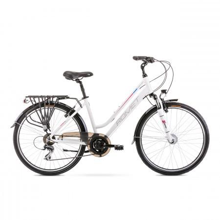 Bicicleta de trekking/oras pentru femei Romet Gazela 26 2 Alb/Roz 2020