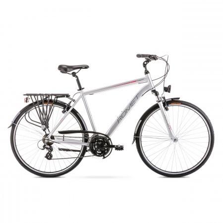 Bicicleta de trekking/oras pentru barbati Romet Wagant 1 Argintiu/Rosu 2020