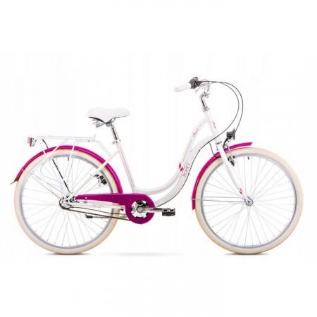 Bicicleta de oras pentru femei Romet Angel 26 3 Alb/Roz 2019