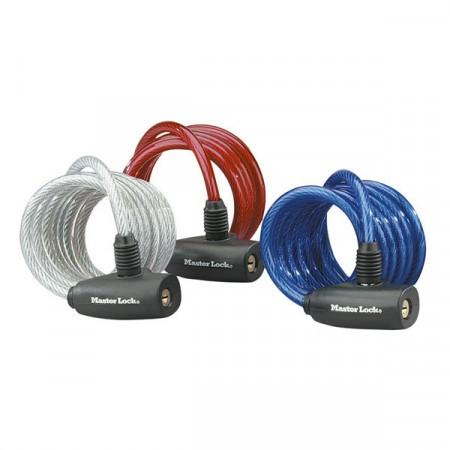 Set x3 antifurt Master Lock cablu spiralat cu cheie 1.80m X 8mm - diverse culori